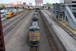 UP 5563 Roars west with a empty coal train past Kc Union Station.