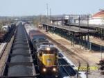 UP 9144 leads CSX train 518 past B'ham Amtrak shed and NS coal train.