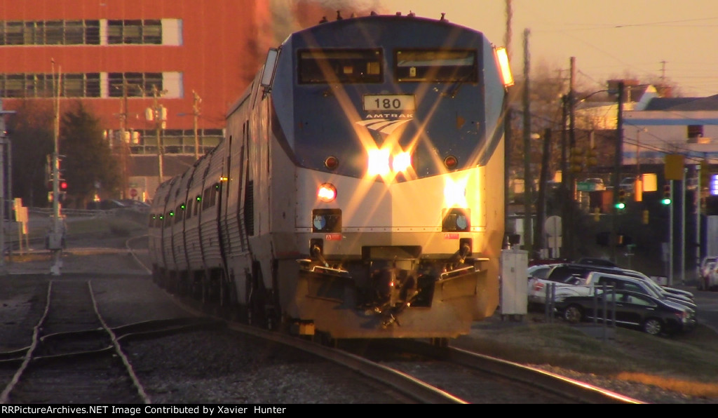 Sunset Shot of Amtrak P42DC 180 leading Amtrak Carolinian in Durham, NC.