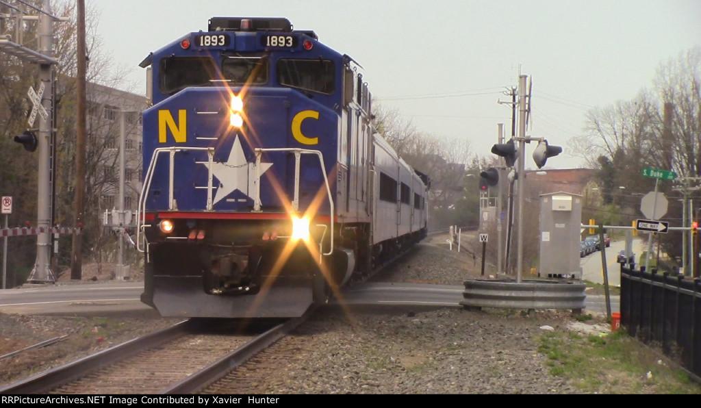 RNCX EMD F59PH 1893 leading Amtrak Piedmont Train 74 into Durham, NC
