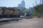 UP 793 train meets and passes UP 4994 in Shortline Yard, Des Moines IA