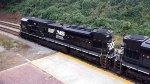 Lead SD80mac, 7218, on NS 047, the James E. Strates carnival train.