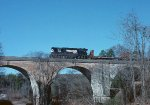 NS local #35 heads south across Coneross Creek bridge.
