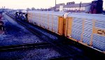 NS 6700 leade freight over the Conrail diamonds at Marion, OH