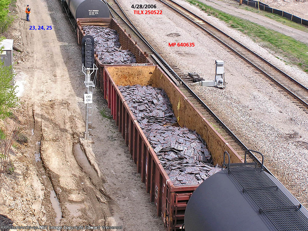 2 carloads of tie plates will be dropped as the conductor counts his setout