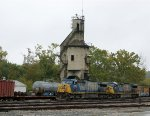 Two damaged locomotives by the coaling tower at Sandy Hook Yard.