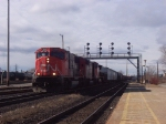 CN 5690 with an eastbound freight passing the VIA depot.