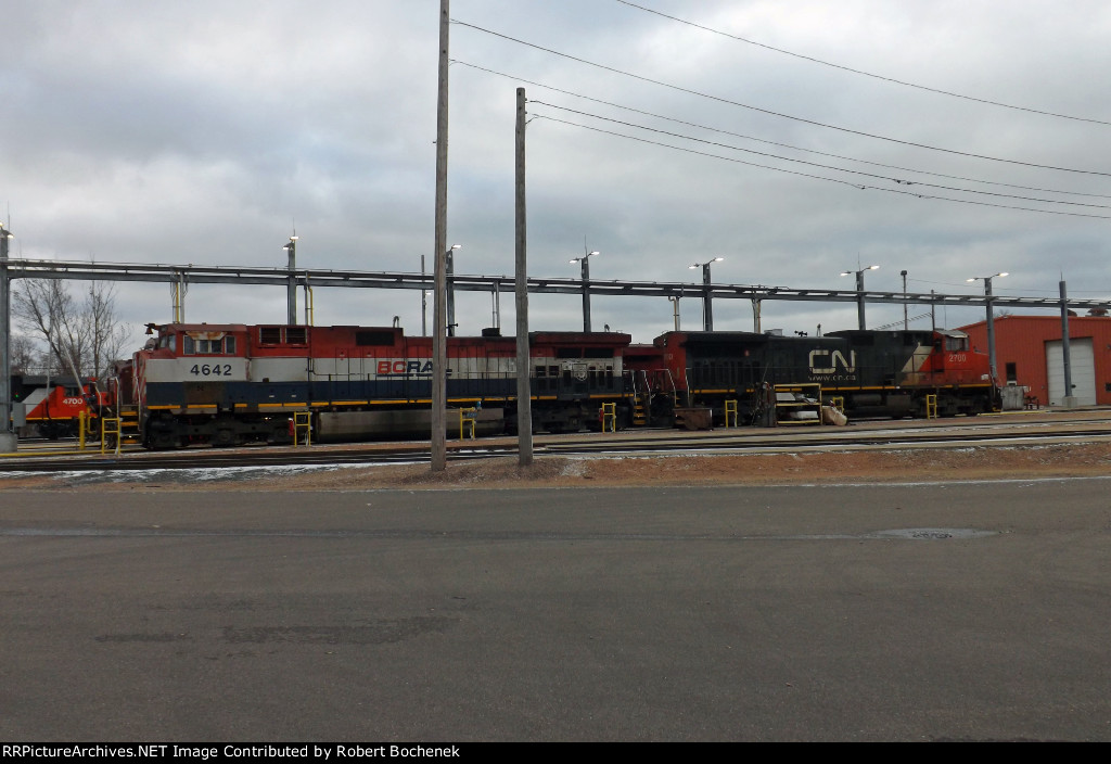 BC Rail C44-9WL 4642 and CN C44-9W 2700 at fuel depot in Stevens Point, WI_11-19-16