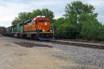 BNSF 1528 and 1428 lead westbound at Trempealeau, WI_6-22-16