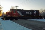 CN (GTW) SD40-2 5931  at Heffron Street, Stevens Point, WI_3-26-16