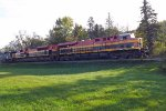 KCS 4817 leads KCS 4156 and CSX 7519 at Minnesota City, MN_ 10-7-15