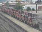 Stored Heritage 1 and 700 Series and a Couple Heritage 3 BNSF C44-9Ws