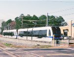 A northbound Charlotte Lynx train heads for downtown.