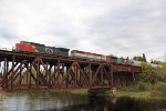 Now CN 2188, another ex-BNSF C40-8W, leads a northbound manifest over the Cloquet