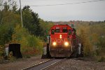 CN 6021 crosses the Highland St. overpass leading the taconite loads into town