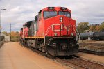 Lead loco on a four unit eastbound mixed freight