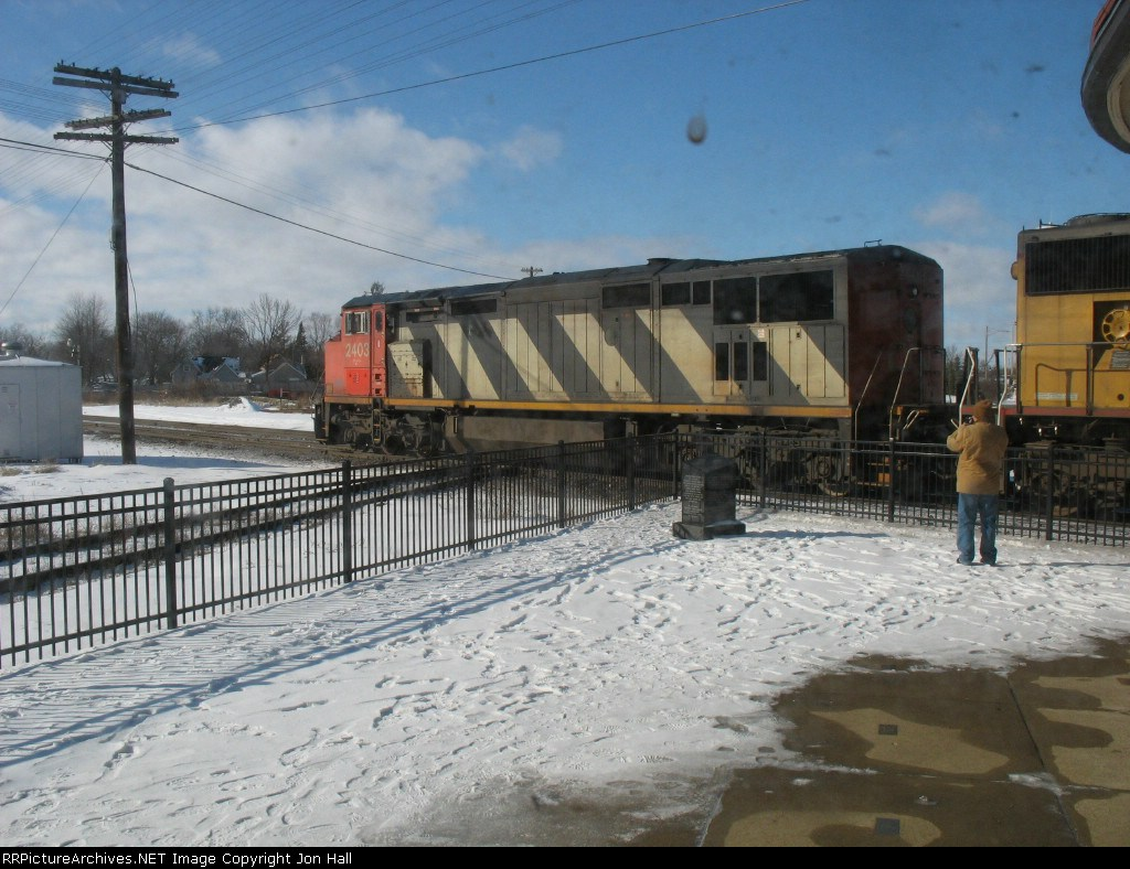 This train led by CN 2403 snuck up on us