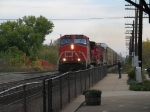 CN 2612 leading a westbound past the station