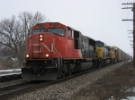 CN 5715 leading CSX 364 & UP 4402 westward