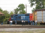 GTW 4624 backing past a good portion of the group
