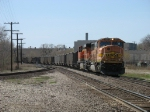 BNSF 9850 & 6020 bring C764 into town before backing into the yard