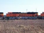 BNSF SD70ACe #9370 sits with two sister units in the CN yard