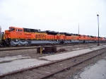 five brand new BNSF SD70ACe's are awaiting to head west on the CN