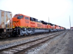 BNSF SD70ACe #9386 along with four other sister units is lead by two older BNSF units