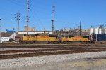 UP 4159 Leads a stack train through Granite city IL.