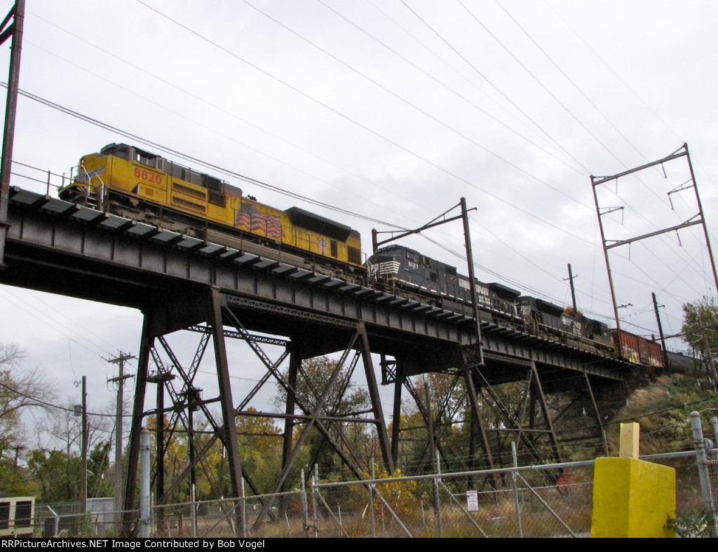 UP 8820; NS 9127 and 1153