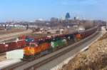 BNSF 4544 with the Worm Train on the Argentine Flyover