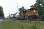 CSX work train with wind mill blades