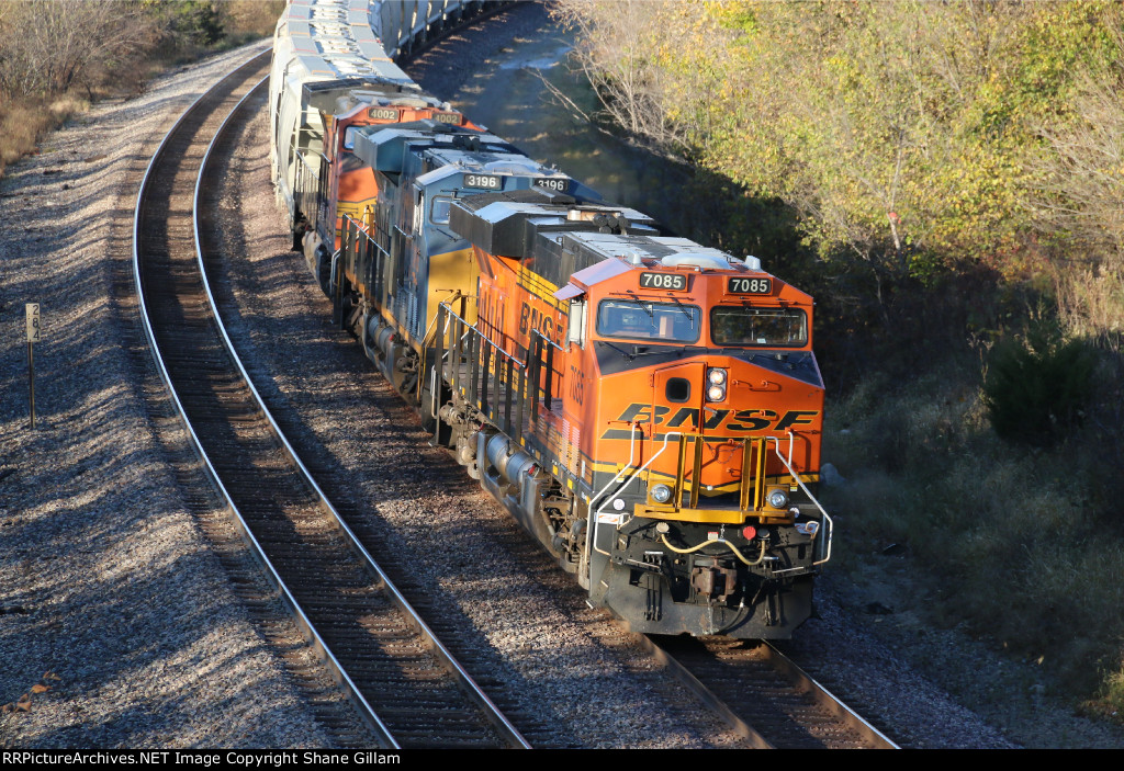 BNSF 7085 Works hard on this westbound sand train.