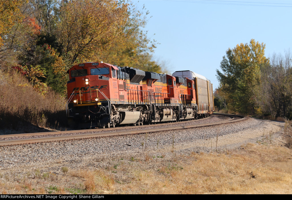 Coal power on a rack train... BNSF 9053 leads a V-BLUKCK