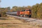 BNSF 7449 leads a empty crude oil train.