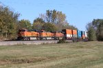 BNSF 8051 Tops the small with a stack train in tow.