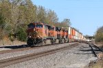 BNSF 5339 Leads a Q train west up hill into Rutledge Mo.