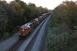 BNSF 7912 Leads a Stack train west down Main 1.
