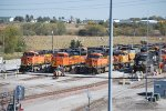 BNSF 5993 on F1, BNSF 8565 on F2, BNSF 6202 on F3, and A Lone NS 8031 All Being Serviced and Fueled.