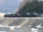 NS 9416 leading coal empties along the Conemaugh River