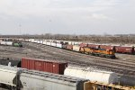 BNSF 585 & 526 roll north through the yard with an inbound local