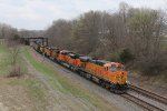 Heading west on the Ottumwa Sub, BNSF 5721 leads Consumers Energy coal empties