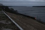 As night quickly takes over, a southbound BNSF freight comes down the Hannibal Sub into Keokuk