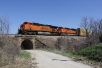 BNSF 6245 & 8473 charge west on the Chilli Sub with stacks in tow