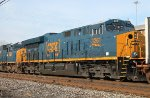 The third unit of a westbound intermodal that arrives to change crew