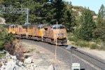 Eastbound stac train rolling through Yuba Pass