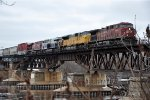 Manifest rolls east over the Mississippi River bridge
