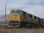 UP SD70M leading a CSX manifest westbound