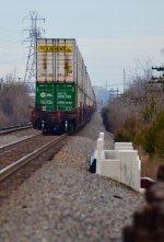 NS intermodal rollaway toward Downtown Columbus