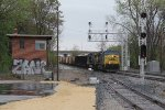 Passing the signals and old tower at Pleasant St, CSX 422 leads K901 west on its last lap into Wyoming Yard